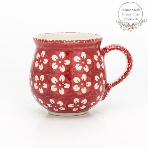 Bubble Mug 250 ml - Polish Pottery - Red Flowers